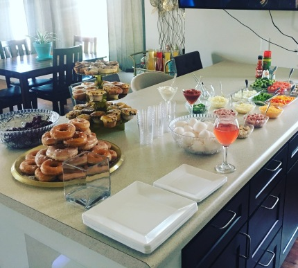 Brunch Party at my house! This was so easy to do! I got nearly all of the toppings from the Salad Bar!