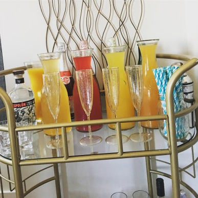 Mimosa Bar! Yum! We also did fruit ice-cubes as a garnish!